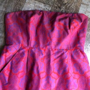Beautiful purple paisley over orange strapless